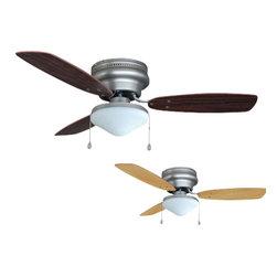 "Builder's Collection - Satin Nickel 42"" Hugger Ceiling Fan w/ Light Kit - Motor Finish: Satin Nickel"