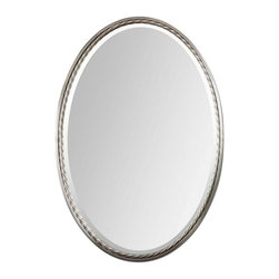Uttermost - Uttermost 32x22 Oval Casalina Oval Mirror in Nickel - Plated, Brushed Nickel Finish with Twisted Metal Rope Detail. Mirror is beveled.