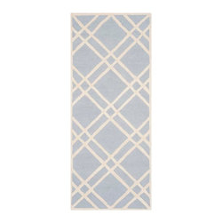 """Safavieh - Sophie Hand Tufted Rug, Light Blue / Ivory 2'6"""" X 6' - Construction Method: Hand Tufted. Country of Origin: India. Care Instructions: Vacuum Regularly To Prevent Dust And Crumbs From Settling Into The Roots Of The Fibers. Avoid Direct And Continuous Exposure To Sunlight. Use Rug Protectors Under The Legs Of Heavy Furniture To Avoid Flattening Piles. Do Not Pull Loose Ends; Clip Them With Scissors To Remove. Turn Carpet Occasionally To Equalize Wear. Remove Spills Immediately. Bring classic style to your bedroom, living room, or home office with a richly-dimensional Safavieh Cambridge Rug. Artfully hand-tufted, these plush wool area rugs are crafted with plush and loop textures to highlight timeless motifs updated for today's homes in fashion colors."""