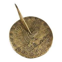 Bronze Finish Flying Eagle Sundial American Patriotic - This beautiful round garden sundial will add a distinct look of class to your garden, patio or pool, whether or not you use it with a pedestal. Made of cold cast resin, this gorgeous sundial features a flying American Bald Eagle on the face, with the words `In God We Trust` on the right hand side, has an American flag for a gnomon, and has numbers around the outside to help give you the time. Measuring 11 inches in diameter, the sundial has a bronzed finish that gives it the look of cast metal. It will look beautiful in your garden for years to come, and won`t need to be repainted. We have a limited number of these, so don`t miss out. Get yours now!