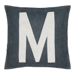 """Eastern Accents - Spell It Out M Pillow - Featuring a white """"M"""" on a grey background, the Spell It Out felt pillow brings a typographic touch to a sofa, chair or bed. This on-trend accent creates a personalized look when displayed individually or with other letters and symbols (available separately). Handcrafted for the modern home, this decorative pillow charms with its unique fabrication, simple design and neutral color palette. 16"""" Square; Hand-cut felt piecing; High quality polyester fiber pillow insert included; Zipper closure"""