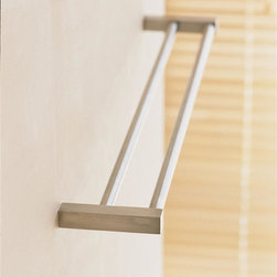 WS Bath Collections - Metric Double Towel Rail in Brushed Stainless - Choose Size: 19.7 inchesMade in Spain. Product Material: Brushed Stainless Steel. Finish/Color: Polished Chrome. Dimensions: 19.7 in. L x 2.8 in. D