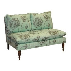 Skyline Furniture Mavericks Love Seat Loveseat in Queen Anne's Lace - I love the overscaled botanical print on this loveseat, and the petite size of the piece overall. It's perfect for a small space or at the foot of your bed.