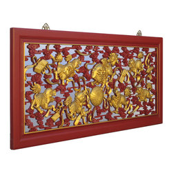 Golden Lotus - Chinese Red Gold Nine Foo Dogs Chasing Ball Carving Long Wall Screen Panel - This is a Chinese red gold paint long vertical screen panel which is made of solid elm wood.  The carving represents nine foo dogs are chasing a ball, it means good luck and good fortune.  It was used as celebrating gift in Chinese culture.