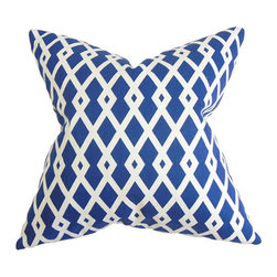 The Pillow Collection - Tova Blue 18 x 18 Geometric Throw Pillow - - Pillows have hidden zippers for easy removal and cleaning  - Reversible pillow with same fabric on both sides  - Comes standard with a 5/95 feather blend pillow insert  - All four sides have a clean knife-edge finish  - Pillow insert is 19 x 19 to ensure a tight and generous fit  - Cover and insert made in the USA  - Spot clean and Dry cleaning recommended  - Fill Material: 5/95 down feather blend The Pillow Collection - P18-ROB-GRAPHICFRET-ULTRAMARIN