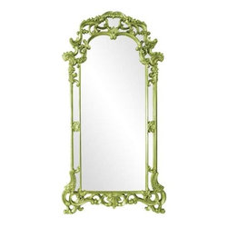 Howard Elliott Imperial Green Mirror - Our Imperial Mirror definitely exudes an imperial style. Lovely scrolls and flourishes surround the glass. It is then painted in our custom green lacquer.