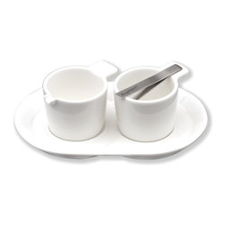 "Berghoff - Berghoff Neo Cream & Sugar Set 3 pc. - Set includes: cream holder, sugar holder, saucer. Measures:(3 1/2"" x 2 3/4""/0.1 Qt)"