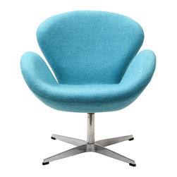 Modern light blue Fabric swivel Lounge Chair inspired by The Swan design - Modern light blue Fabric swivel Lounge Chair has a steel frame upholstered with wool fabric. It features deep seating and ergonomic armrests for comfort along with a swivel base for flexibility. This swivel  Lounge chair has a modern mid-century design and is very comfortable to lounge in. Available in different colors.