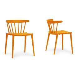 "Wholesale Interiors - Finchum Orange Plastic Stackable Modern Dining Chairs, Set of 2 - A classic form made modern with vivid orange, our Finchum Designer Dining Chair is a unexpected pop of color for a chic dining room. Taking its inspiration from dowel-slatted chairs, this updated version is made instead with molded plastic. The Finchum Chair is made in China and features non-marking feet to protect sensitive flooring from scratches. This design is fully assembled and is stackable. To clean, wipe with a damp cloth. The Finchum Chair is also available in red (sold separately). Dimension: 19.75""W x 20.5""D x 28.5""H, seat dimension: 17.875""W x 17.875""D x 15.75""H."