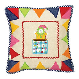 Wingreen - Appliqued Cushion Cover - Toy Shop - Our Toy Shop Cushion Cover is appliqued and embroidered with a beautiful jack-in-the-box and a brightly colored 'bunting-style' border.