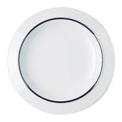 Alessi Dinnerware - Alessi Dinnerware Filetto Dessert Plate - Dessert plate. Filleto, a part of the Bavero collection features a decorative silver border. The Bavero porcelain set is another superb specimen of Castiglioni's work. This project draws its raison d'être from what the architect was referring to as the principal design element, in other words the key project idea that the designer must seize, the intuition at the start of any job: in this case, it's a simple (but highly significant, not to say bold) design move, folding the edges of the plates downwards. Manufactured by Alessi. Designed in 2002.