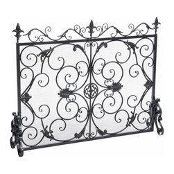 Great Deal Furniture - Darcie Wrought Iron Fireplace Screen, Silver Finish - The Darcie Fireplace Screen is beautifully crafted out of iron and highlights ornate design work on the face of the screen. The sophistication of this fireplace screen adds a refined look to any fireplace filled room.