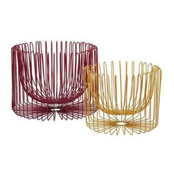 Taranto Wire Basket - Set of 2 - The Taranto set of two wire baskets have a modern style! in rich red and vibrant yellow metal forms, these bowls are a great use of positive and negative space which is not confined to the traditional basket shape.