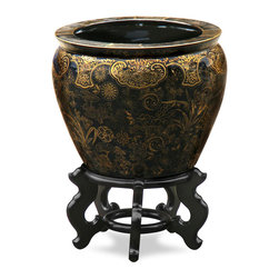 China Furniture and Arts - 12in Hand Painted Decorative Fishbowl Planter - The noble families of ancient China used large bowls such as ours to protect their pond carps from the freezing cold of winter. Used today as a cachepot, it gives a large plant a highly decorative place to put down roots. Completely hand painted in gold vine design against black background. Stand sold separately