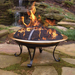 Traveling Fire Pit - Take the party with you! This cleverly designed fire pit is portable, so you can have a campfire whenever and wherever you desire. Enjoy it at home and then take it with you tailgating, to the park, the campground or the beach. The base is made of powder coated steel and the bowl, available in 26 copper, is tested to withstand heat up to 1700 degrees. The folding base and bowl easily stores away into its own canvas carrying bag so it's bound to become your favorite traveling companion. Also included is a removable screen to reduce fly away embers and a lifting tool to use on the screen and grate.