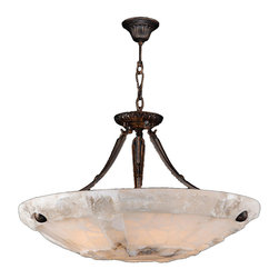 "Worldwide Lighting - Pompeii 5-Light Flemish Brass Finish Natural Quartz Stone Bowl Pendant 24"" Round - This stunning 5-light Bowl Pendant only uses the best quality material and workmanship ensuring a beautiful heirloom quality piece. Featuring a radiant Flemish brass finish and natural quartz stone from Spain, this elegant pendant will liven up any room. No synthetic process could replicate the natural beauty of this beautiful quartz pendant. Worldwide Lighting Corporation is a privately owned manufacturer of high quality crystal chandeliers, pendants, surface mounts, sconces and custom decorative lighting products for the residential, hospitality and commercial building markets. Our high quality crystals meet all standards of perfection, possessing lead oxide of 30% that is above industry standards and can be seen in prestigious homes, hotels, restaurants, casinos, and churches across the country. Our mission is to enhance your lighting needs with exceptional quality fixtures at a reasonable price."
