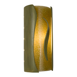 A19 - Flare Wall Sconce Sagebrush and Moss - This cylindrical wall sconce creates a dazzling effect as it emits light through openings at the top and bottom, and radiates rays of light from perforations along both sides. The glazed ceramic shell frames a warm colored glass made from frit and recycled window glass. A three-dimensional ceramic flare positioned on top of the glass provides the finishing touch.