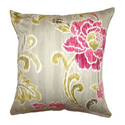 """The Pillow Collection - Jacobina Floral Pillow Fuchsia 18"""" x 18"""" - This whimsical throw pillow evokes a carefree and refreshing vibe. This square pillow features a beautiful floral print pattern in fuchsia, brown and green. This is a perfect accent pillow which you can place in your living room or bedroom. This contemporary 18"""" pillow is easy to incorporate with other decor pillows. The fabric of this square pillow is made from 100% soft cotton material. Hidden zipper closure for easy cover removal.  Knife edge finish on all four sides.  Reversible pillow with the same fabric on the back side.  Spot cleaning suggested."""