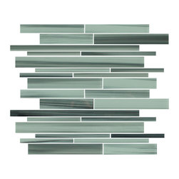 """Rocky Point Tile - Surfz Up Linear Glass Mosaic Tiles, 4"""" X 6"""" Sample - Introducing our new Surfz Up hand painted linear glass mosaic tiles. A soothing hand painted mix of ocean blue gray that includes hints of black and green through out.. A great choice for a backsplash or bathroom."""