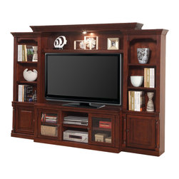 Parker House - Premier Andrews 4 Piece 57 Stationary Entertainment Wall in Traditional Cherry - Parker House Furniture is based in California and has been serving the fine furniture industry since 1946. The company's time-proven quality is an industry standard. Parker House continues its legacy with its newest line of expanding television consoles and entertainment wall systems, plasma TV stands, and accessories. All solid wood is hand sorted for the project, verifying color, grain and structure. Specialty Veneering is done in house. We have a large inventory of domestic and exotic veneers. Parker House takes pride in the quality of its furniture and is committed to making customer satisfaction its number one priority.