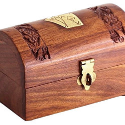 SouvNear - SouvNear Handmade Wooden Playing Card Box / Treasure Chest with Brass Art Work - * Dimensions - Length - 5 Inches, Width - 3.75 Inches, Height - 3.1 Inches