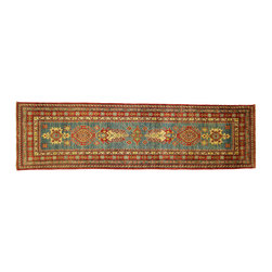 Manhattan Rugs - New Persian Super Kazak Oriental Runner 3'x10' Royal Blue Floral Area Rug H5048 - Kazak (Kazakh, Kasak, Gazakh, Qazax). The most used spelling today is Qazax but rug people use Kazak so I generally do as well.The areas known as Kazakstan, Chechenya and Shirvan respectively are situated north of  Iran and Afghanistan and to the east of the Caspian sea and are all new Soviet republics.   These rugs are woven by settled Armenians as well as nomadic Kurds, Georgians, Azerbaijanis and Lurs.  Many of the people of Turkoman origin fled to Pakistan when the Russians invaded Afghanistan and most of the rugs are woven close to Peshawar on the Afghan-Pakistan border.There are many design influences and consequently a large variety of motifs of various medallions, diamonds, latch-hooked zig-zags and other geometric shapes.  However, it is the wonderful colours used with rich reds, blues, yellows and greens which make them stand out from other rugs.  The ability of the Caucasian weaver to use dramatic colours and patterns is unequalled in the rug weaving world.  Very hard-wearing rugs as well as being very collectable