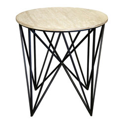 Spider Side Table with Wood Top - Conceptual and striking, the Spider Table confronts the viewer with the intriguing geometry of the narrow iron legs. Its grey-washed, reclaimed fir top offers the perfect balance of level smoothness with poetic, life-affirming weathered finish. The complete end table rests with a weightless look on the points of its radiant, architectural leg arrangement in dramatic dark metal.