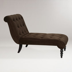 World Market - Chocolate Tufted Velvet Victoria Chaise - Inspired by classic chaises of the Victorian era, our Chocolate Tufted Velvet Victoria Chaise offers an elegant, modern-day spin on tradition. Curvaceous and graceful, this well-designed piece balances casual comfort with upscale chic at a price you'll find most relaxing. Plush velvet upholstery and gorgeously detailed solid wood legs ensure that this chaise will stand the test of time.