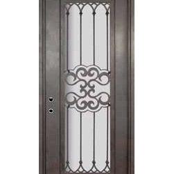 """Tivoli 42x96 Wrought Iron Single Door 14 Gauge Steel - """"SKU#PHBFTSR4-42BrandGlassCraftDoor TypeExteriorManufacturer CollectionBuffalo Forge Steel DoorsDoor ModelTivoliDoor MaterialSteelWoodgrainVeneerPrice4500Door Size Options  $Core Typeone-piece roll-formed 14 gauge steel doors are foam filled  Door StyleTraditionalDoor Lite StyleFull LiteDoor Panel StyleHome Style MatchingMediterranean , Victorian , Bay and Gable , Plantation , Cape Cod , Gulf Coast , ColonialDoor ConstructionPrehanging OptionsPrehungPrehung ConfigurationSingle DoorDoor Thickness (Inches)1.5Glass Thickness (Inches)Glass TypeDouble GlazedGlass CamingGlass FeaturesInsulated , TemperedGlass StyleGlass TextureClear , Glue Chip , RainGlass ObscurityDoor FeaturesDoor ApprovalsWind-load RatedDoor FinishesThree coat painting process"""