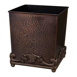 GG Collection - The GG Collection Hammered Wastebasket Antique Copper - The GG Collection Hammered Wastebasket Antique Copper