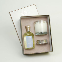 Frontgate - Antica Farmacista Bergamot Diffuser & Candle Set - Contains an 8 oz. diffuser, a 9 oz. round candle and a luxuriously detailed nickel-plated tray. Bergamot scent: Saltwater notes blend with soft jasmine and lavender while crisp bergamot adds a glistening effervescence; soft, warm notes of white musk and lush oakmoss complete this captivating scent. Diffuser arrives in an antique-inspired apothecary bottle. Insert the white birch reeds through the open neck to diffuse the scent; invert the reeds every few days or as desired to enhance the effect. Candle is produced in a clear glass vessel with a platinum leaf pattern. The Antica Farmacista Bergamot Diffuser and Candle Set is a beautiful collection for adding fragrance to your home. The diffuser imparts a long-lasting fragrance, making any room smell fresh and clean. The candle delivers 60 hours of scented illumination.  .  .  .  .  . Made in USA.