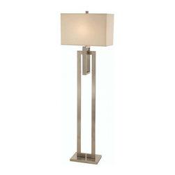 Joshua Marshal - One Light Brushed Nickel Ivory Pinstripe Shantung Shade Floor Lamp - One Light Brushed Nickel Ivory Pinstripe Shantung Shade Floor Lamp