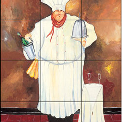 The Tile Mural Store (USA) - Tile Mural - Table Pour Deux - Kitchen Backsplash Ideas - This beautiful artwork by Jennifer Garant has been digitally reproduced for tiles and depicts a chef with a bottle of wine.  Our decorative tiles of Chefs are perfect to use for your kitchen backsplash tile project. A chef tile mural adds whimsy and fun to your kitchen wall tile area and makes a wonderful kitchen backsplash idea. Pictures of Chefs on tiles is timeless and these chef decorative tiles blend with any decor. Your kitchen will come to life with a tile mural featuring a chef.