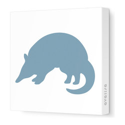 "Avalisa - Silhouette - Armadillo Stretched Wall Art, 12"" x 12"", Blue Gray - Take a walk on the wild side with this adorable Armadillo silhouette. ""Armadillo"" means ""little armored one"" in Spanish, and this stretched canvas wall art gets rave reviews for a little one's bedroom or playroom."