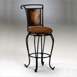 "Hillsdale - Hillsdale Milan 26"" Swivel Seat Counter Stool in Copper - Hillsdale - Bar Stools - 4527827 - The spirit of Old Italy lives on. The Milan dining collection is a sophisticated creation sure to impress any visitor with its classic ornate flair and airy design perfect for any sunlit room. This stool features sweepingly curved legs and sleigh-inspired backs with a hammered copper effect. Enhanced by a faux suede seat and finished in lush black the outline of this collection is distinctly its own."