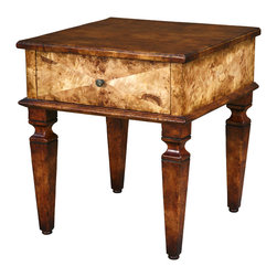 TerraSur - Fausto Square Side Table - Looking for a luxe side table? Diagonal cuts of Italian Elm veneer with a hand-distressed and multilayered finish cover the sides of this end table, with one central drawer for your convenience.