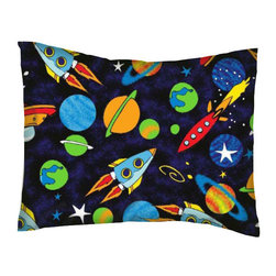 SheetWorld - SheetWorld Twin Pillow Case - Percale Pillow Case - Space - Made in USA - Twin pillow case. Made of an all cotton flannel fabric. Side Opening. Features the one and only space!