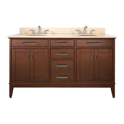 Avanity - Madison 60 Vanity Combo Tobacco, Gala Beige Marble Top - The Madison 60 in. vanity combines function with style. The vanity is designed with strong attractive lines and finished in Tobacco with old bronze hardware. It is constructed of solid Poplar wood and veneer with soft-close door hinges and drawer glides. The vanity comes with a black granite top and dual undermount sinks. Also available is a matching mirror, mirror storage cabinet and linen tower to complete your bathroom.