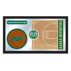 """Holland Bar Stool - Holland Bar Stool Colorado State Basketball Mirror - Colorado State Basketball Mirror belongs to College Collection by Holland Bar Stool The perfect way to show your school pride, our basketball Mirror displays your school's symbols with a style that fits any setting.  With it's simple but elegant design, colors burst through the 1/8"""" thick glass and are highlighted by the mirrored accents.  Framed with a black, 1 1/4 wrapped wood frame with saw tooth hangers, this 15""""(H) x 26""""(W) mirror is ideal for your office, garage, or any room of the house.  Whether purchasing as a gift for a recent grad, sports superfan, or for yourself, you can take satisfaction knowing you're buying a mirror that is proudly Made in the USA by Holland Bar Stool Company, Holland, MI.   Mirror (1)"""