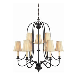 World Imports - Brondy 9 Light Chandelier in Aged Ebony Finis - Manufacturer SKU: WI374934. Bulbs not included. Handmade ivory fabric shades. Finished in our Aged Ebony and Rust. Brondy Collection. 9 Lights. Power: 60W. Type of bulb: Candelabra. Aged Ebony finish. 10 ft. Chain & 12 ft. Wire. Canopy 5.25 in. D. 28 in. D x 33.75 in. H (11.07 lbs.)