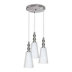 Dainolite - Dainolite 1038-4RP-SC 3 Light Round Pendant Sc Finish Frosted White Glass - Dainolite 1038-4RP-SC 3 Light Round Pendant SC Finish Frosted White Glass