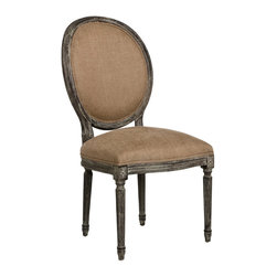 Kathy Kuo Home - Pair Madeleine French Country Oval Copper Linen Limed Oak Dining Chair - This chair fuses classic European design with simple rustic charm. A limed charcoal oak finish adds an antique touch to this Louis XVI style Medallion side chair. Upholstered in a copper linen, this traditional oval back chair lends elegance to a dining room, sitting area or library.