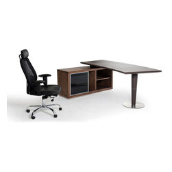 Curve Slide Executive Desk - So much storage and even greater style! The Curve Slide Executive Desk, the epitome of cool, makes a helpful companion for any space large and small. With tons of storage, two sliding drawers, and a slide door, this ultra durable and unique desk will work as hard as you do.