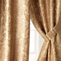 "Austin Horn Classics - Austin Horn Classics Two 52""W x 96""L Curtains - Luxurious fabrics and lavish trims in shades of caramel and latte add up to a level of opulence that makes these bed linens hard to resist. Made in the USA of polyester/rayon and silk fabrics by Austin Horn Classics. Dry clean. Hand-quilted damask comf..."