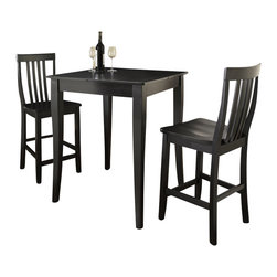 Crosley Furniture - 3 Pc Pub Dining Set w School House Stools in - Includes Pub Table and 2 School House Stools in Black. Solid Hardwood & Veneer Construction Table . Solid Hardwood Stools. Hand Rubbed, Multi-Step Finish. Solid Hardwood, Carved Cabriole Style Legs. Shaped Back for Comfort. Table Dimensions: 36 in. H x 32 in. W x 32 in. D. Stool Dimensions: 40 in. H x 18.5 in. W x 22.5 in. DConstucted of solid hardwood and wood veneers, the 3 piece Pub / High Dining set is built to last. Whether you are looking for dining for two, or just a great addition to the basement or bar area, this set is sure to add a touch of style to any area of your home.