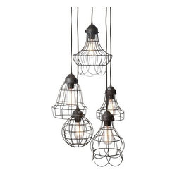 """Lazy Susan - Lazy Susan 225031 Five - Wire Pendant Lamp - What a great reminder that good things come in all shapes and sizes! This five-pendant lamp features lights different sizes and lengths made from iron wrapped wire cords. Working in tandem with both rustic and industrial decors, it all but sings, """"free to be you and me."""""""
