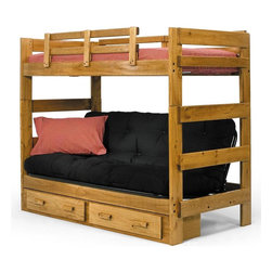 Chelsea Home - Twin Over Futon Bunk Bed - NOTE: ivgStores DOES NOT offer assembly on loft beds or bunk beds.. Includes underbed storage drawers. Mattresses not included. Hand stain finished with three steps process to compliment the natural wood grain. Rustic style. Rails will connect to the bed ends by a 3.5 inch lag bolt for strength. Meet and exceed all of the following rules: ASTM F-1427-07, CFR 1213, CFR1513 and lead testing. Constructed for strength and durability. Warranty: One year. Made from solid plantation-grown pine wood. Honey finish. Made in USA. Assembly required. 80 in. L x 41 in. W x 68 in. H (233 lbs.). Bunk Bed Warning. Please read before purchase.Warning: Falling hazard, bunk beds should be used by children 6 years of age and older!