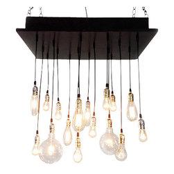 Industrial Lightworks - Rustic Industrial Chandelier with Edison Bulbs, Socket Option: Copper - Rustic Urban 16 Light Chandelier