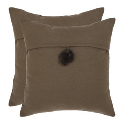Safavieh - Safavieh Moshy 18 in. Decorative Pillows - Brown - Set of 2 - PIL254A-1818-SET2 - Shop for Pillows from Hayneedle.com! Soft and luxurious the Safavieh Moshy 18 in. Decorative Pillows - Brown - Set of 2 create an elegant atmosphere in any room. Made of 70% wool and 30% polyester these knife edged throw pillows have a hypoallergenic fiberfill insert and button closure. Spot cleaning is recommended. About SafaviehConsidered the authority on fine quality craftsmanship and style since their inception in 1914 Safavieh is most successful in the home furnishings industry thanks to their talent for combining high tech with high touch. For four generations the family behind the Safavieh brand has dedicated its talents and resources to providing uncompromising quality. They hold the durability beauty and artistry of their handmade rugs well-crafted furniture and decorative accents in the highest regard. That's why they focus their efforts on developing the highest quality products to suit the broadest range of budgets. Their mission is perpetuate the interior furnishings craft and lead with innovation while preserving centuries-old traditions in categories from antique reproductions to fashion-forward contemporary trends.