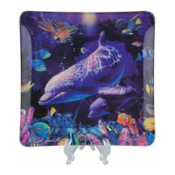 WL - 6 x 6 Inch Blues and Plums Dolphins Amidst Sea Life Coral World Plate - This gorgeous 6 x 6 Inch Blues and Plums Dolphins Amidst Sea Life Coral World Plate has the finest details and highest quality you will find anywhere! 6 x 6 Inch Blues and Plums Dolphins Amidst Sea Life Coral World Plate is truly remarkable.